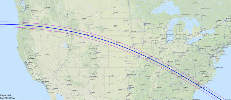 Map of the solar eclipse 2017 USA OSM Zoom1