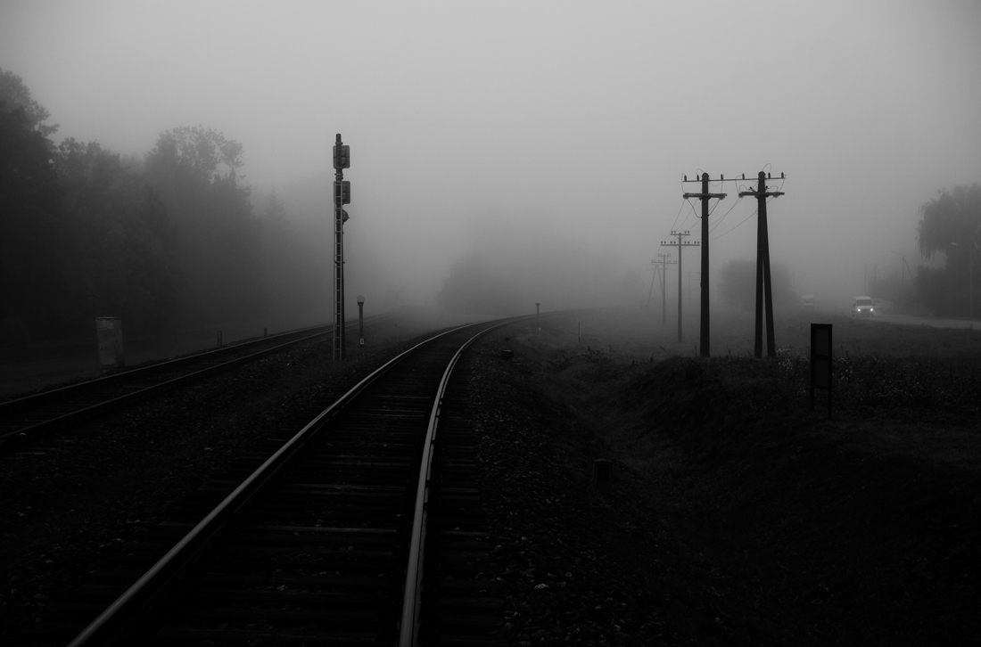 foggy railroad