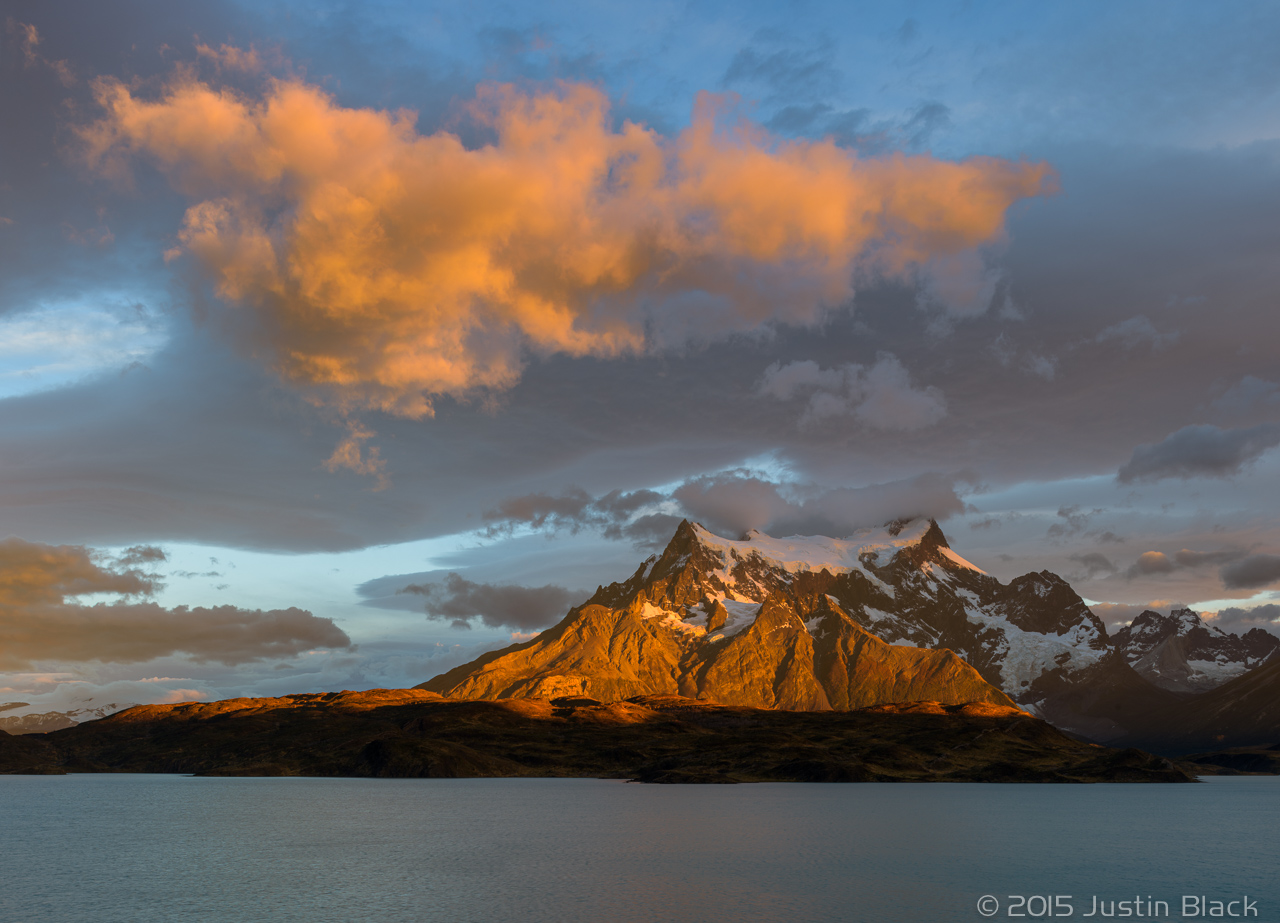 Sunrise on Cerro Paine Grande over Lago Pehoe, Torres del Paine, Patagonia, Chile
