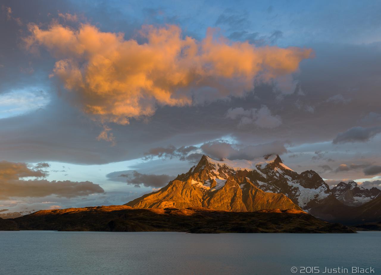 Sunrise on Cerro Paine Grande over Lago Pehoe, Torres del Paine, Patagonia, Chile