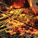 "traditional food of padang panjang (wet sumatera) called ""sate"""