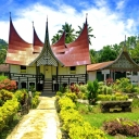 "traditional house of minangkabau at batusangkar city (west sumatera) called ""rumah gadang"""