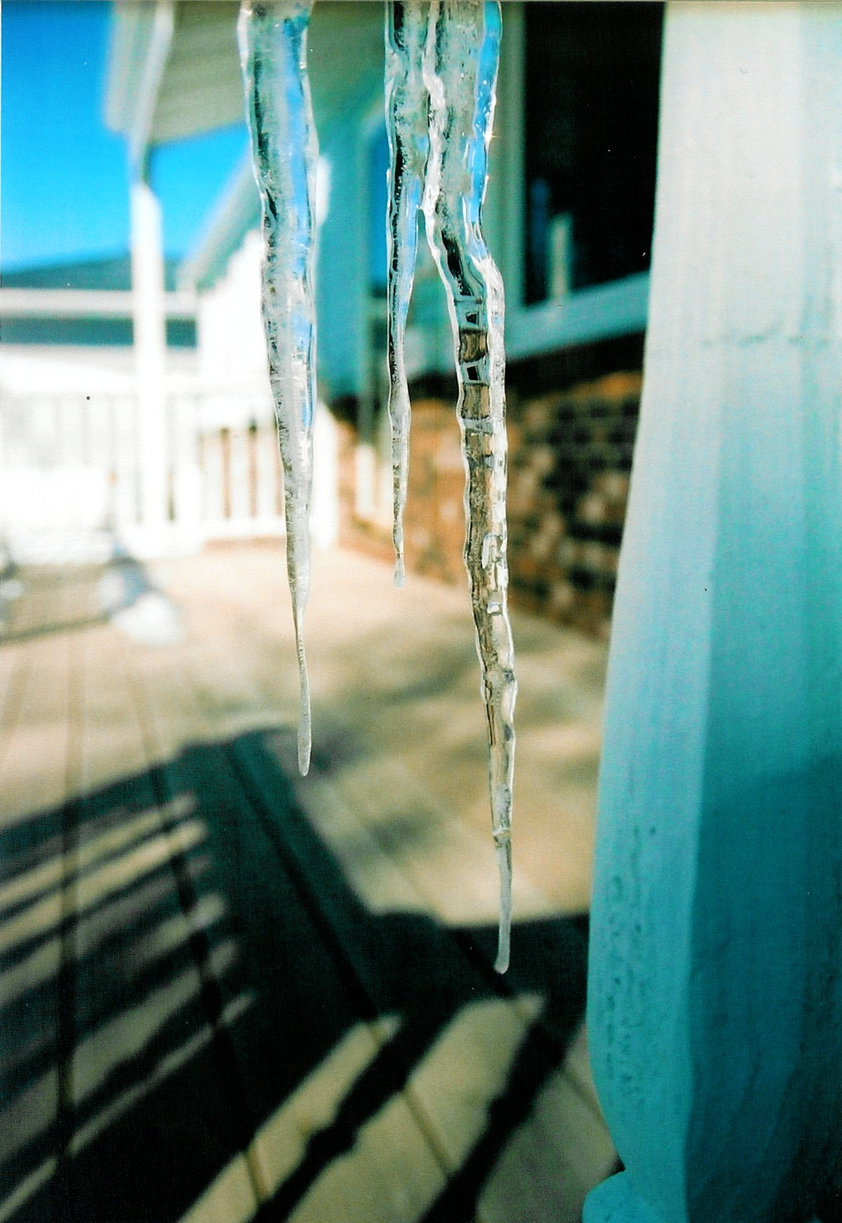 Icicles on porch