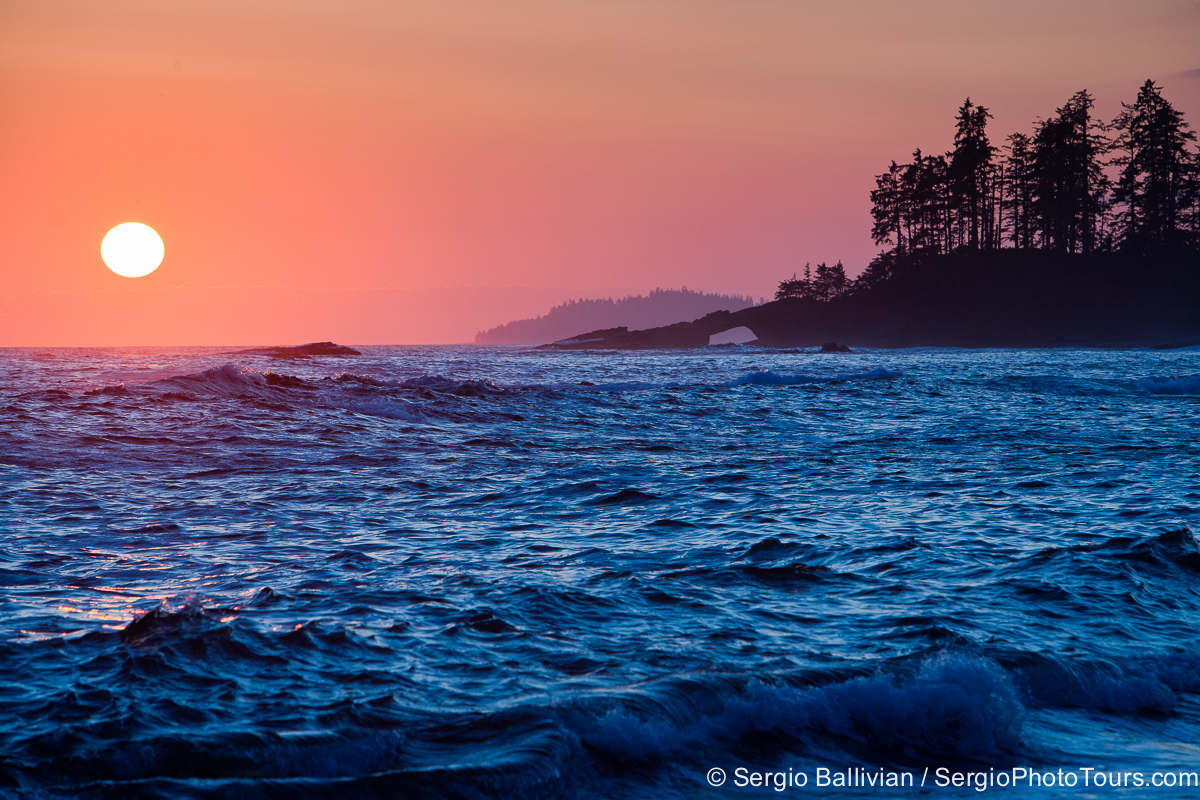 The West Coast Trail on Vancouver island at sunset facing the Pacific Ocean