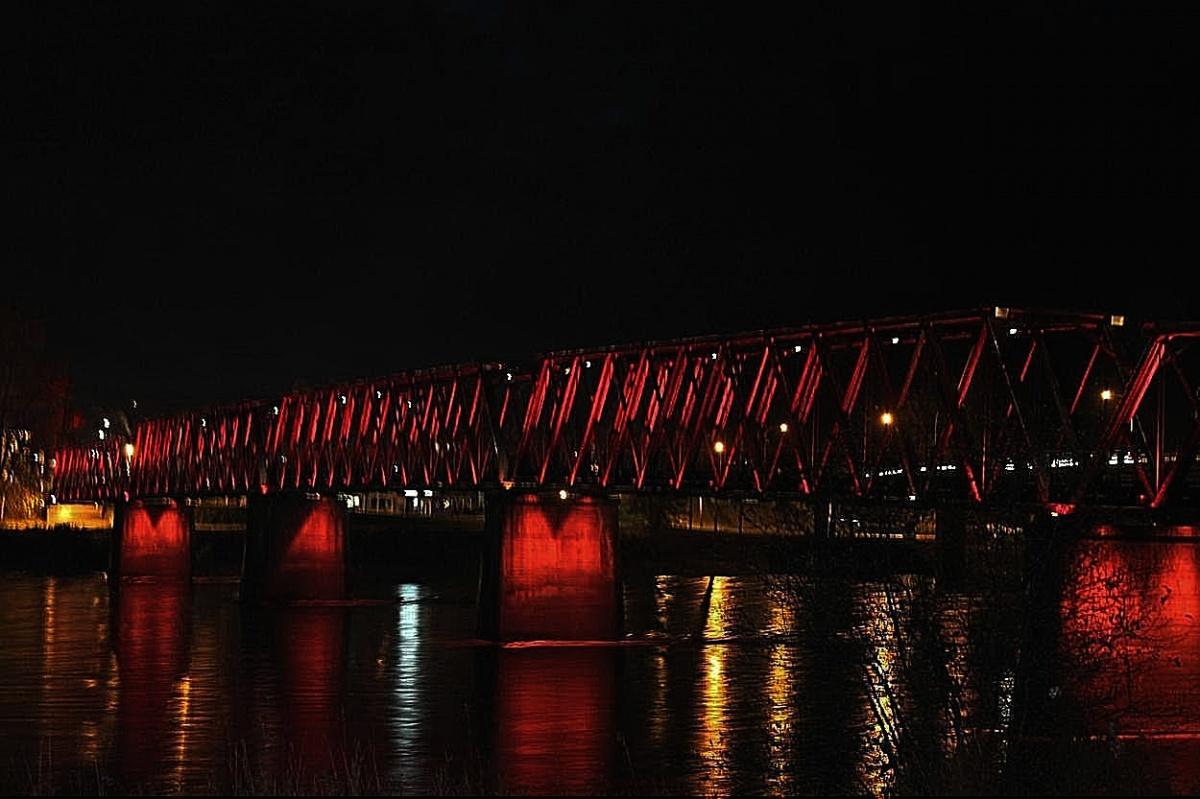 Quesnel, BC walk bridge at night