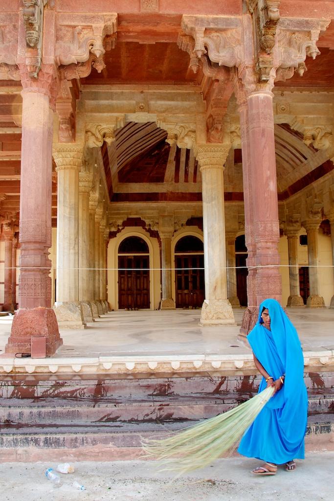 Jaipur, India - Girl in Blue Peeking Out Behind Veil - Copyright 2011 Ralph Velasco