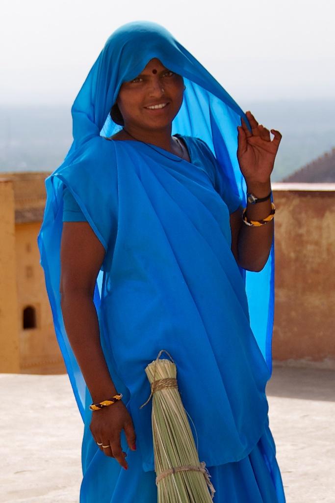 Jaipur, India - Girl in Blue Posing at Amber Palace - Copyright 2011 Ralph Velasco